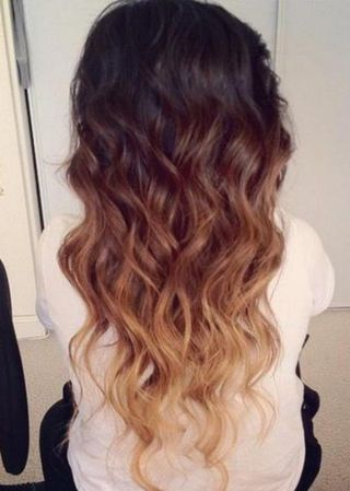 Cute-Dark-Brown-to-Blonde-Ombre-Hair-With-Waves-for-Girls